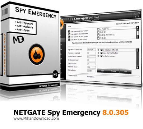 دانلود نرم افزار محافظت از رایانه در برابر برنامه های جاسوسی NETGATE Spy Emergency 8.0.305