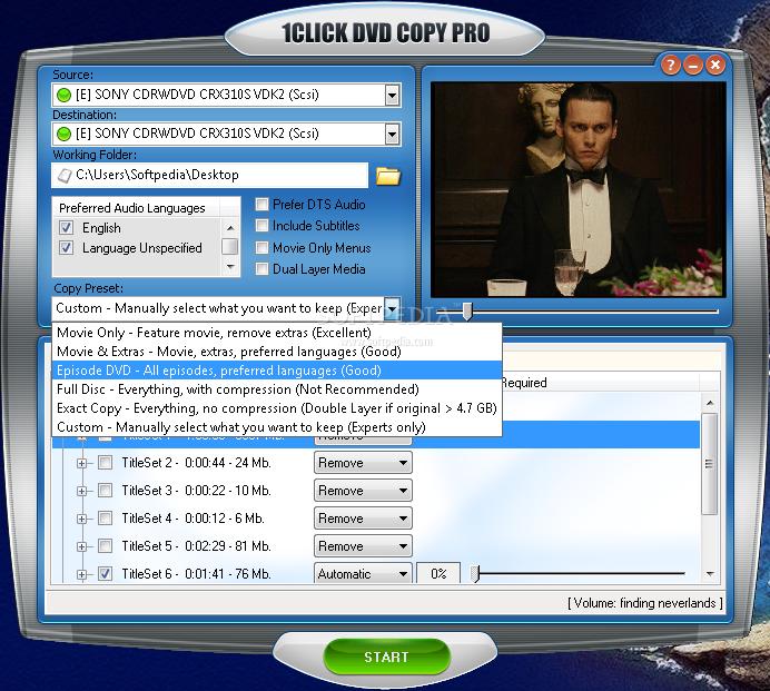 دانلود نرم افزار 1CLICK DVD COPY رایت دی وی دی
