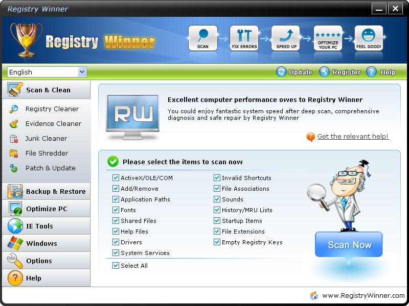 دانلود نرم افزار Registry Winner تعمیر و نگهداری کامپیوتر