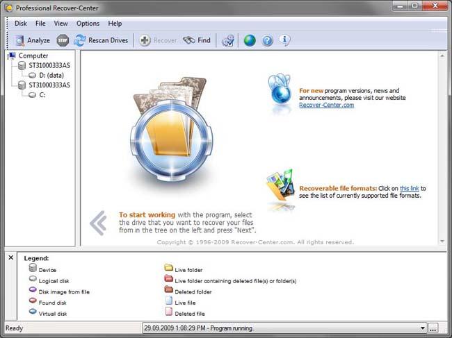 دانلود نرم افزار Professional Recover-Center بازیابی فایل