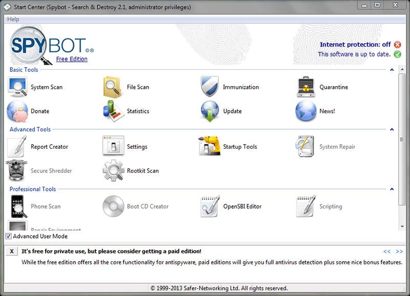 دانلود نرم افزار Spybot Search & Destroy نابودکننده بد افزارها