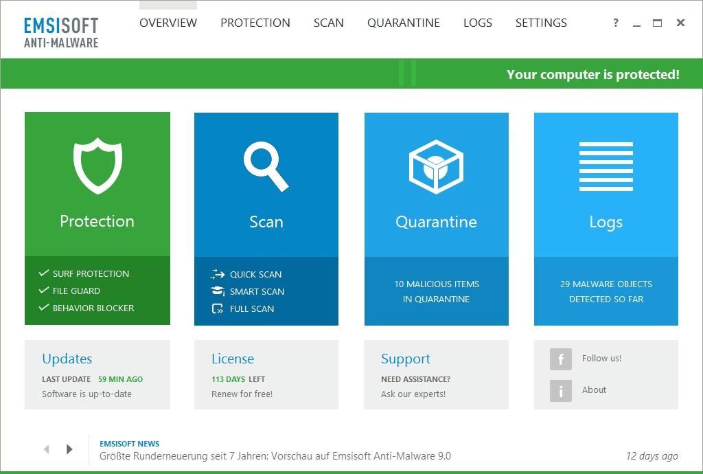 دانلود نرم افزار Emsisoft Anti-Malware امنیتی و ضد تروجان