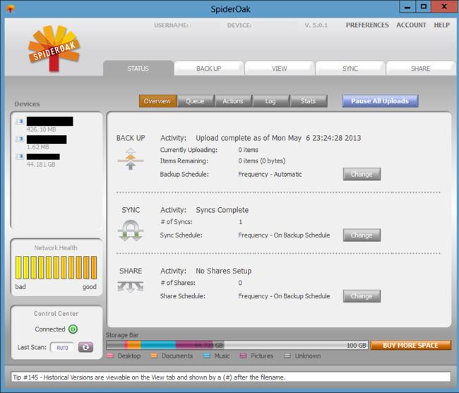 دانلود نرم افزار SpiderOak پشتیبان گیری و اشتراک گذاری فایل ها