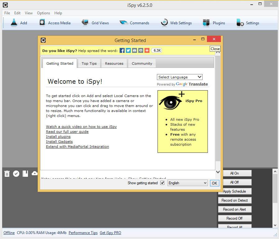 دانلود نرم افزار iSpy تبدیل وبکم به دوربین مداربسته