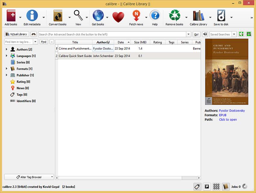 دانلود نرم افزار Calibre مدیریت کتاب های الکترونیک