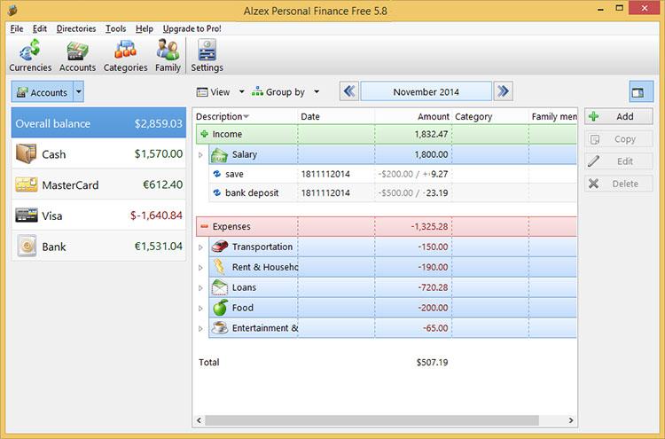 دانلود نرم افزار Alzex Personal Finances حسابدار شخصی