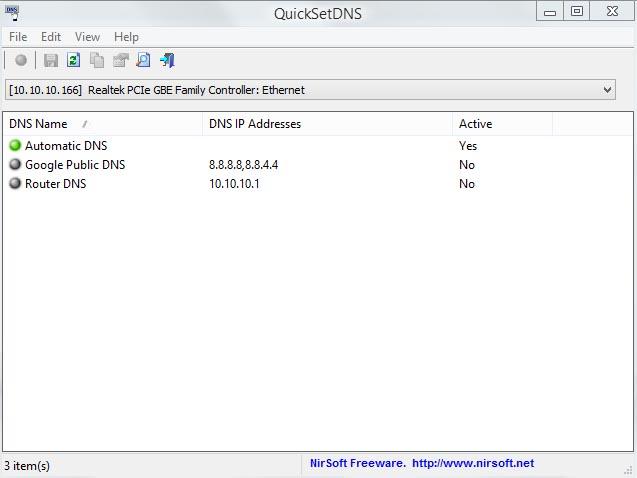 دانلود نرم افزار QuickSetDNS تغییر سریع دی ان اس