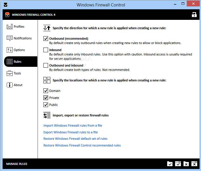 تصویری از محیط نرم افزار Windows Firewall Control :