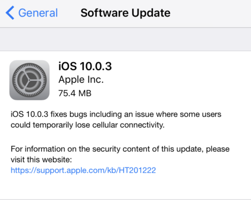 iOS 10.0.3 For iPhone 7 And iPhone 7 Plus