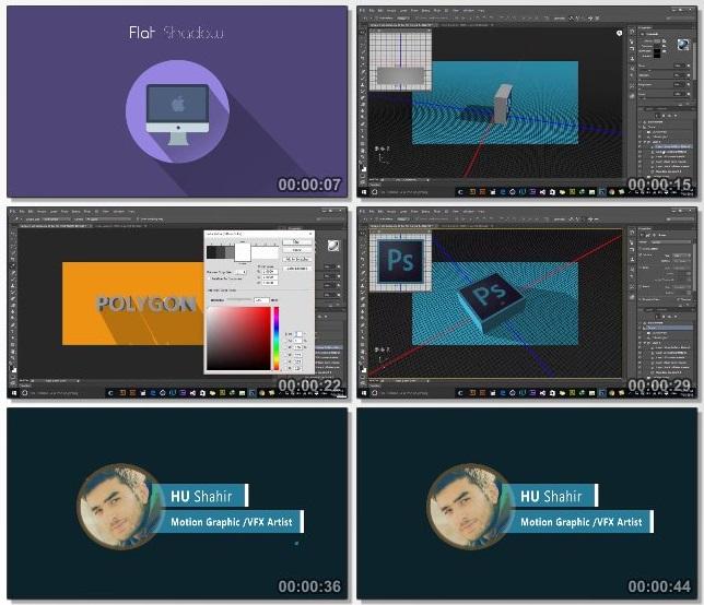 دانلود فیلم آموزشی 3D Flat Long shadow with Photoshop CC