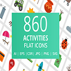 The 860 Activities Flat Icons logo