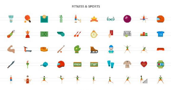 The 860 Activities Flat Icons center