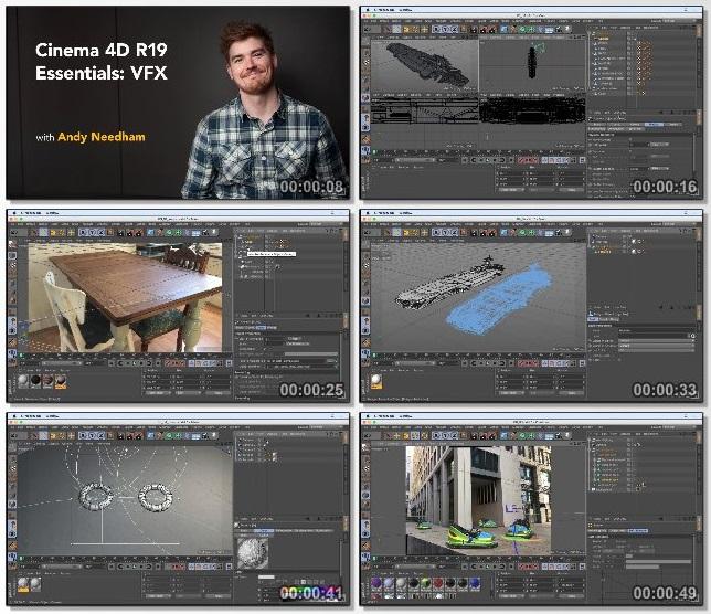 دانلود فیلم آموزشی Cinema 4D R19 Essentials: VFX از Lynda