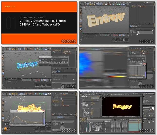 دانلود فیلم آموزشی Creating a Dynamic Burning Logo in CINEMA 4D and TurbulenceFD