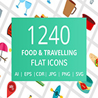 1240 Food and Travelling Flat Icons logo