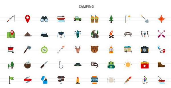 1240 Food and Travelling Flat Icons center