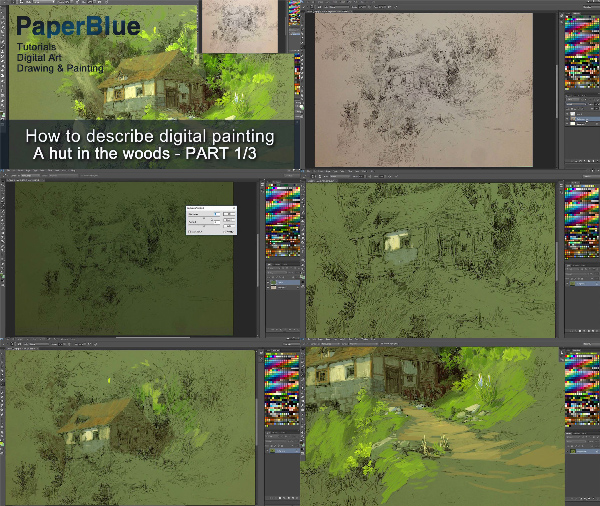 A Hut in the Woods - Digital Painting Process center