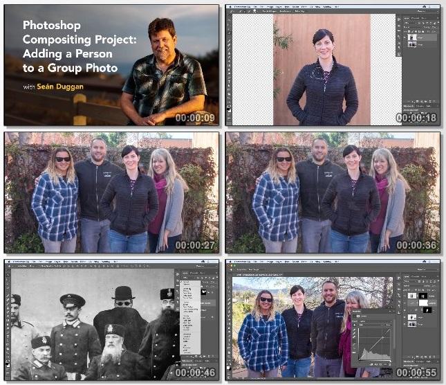 دانلود فیلم آموزشی Adding a Person to a Group Photo in Photoshop از Lynda