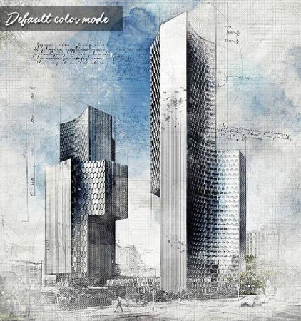 Architecture Sketch and Blueprint Photoshop Action center