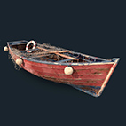 Old fishing boat 3d Model logo