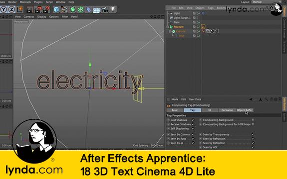 فیلم آموزشی After Effects Apprentice: 18 3D Text Cinema 4D Lite