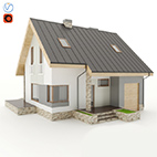 Small European house 3d Model logo
