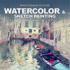 Watercolor and Sketch painting Photoshop Action logo