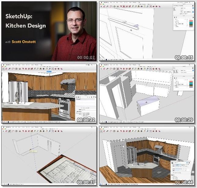 دانلود فیلم آموزشی SketchUp: Kitchen Design از Lynda