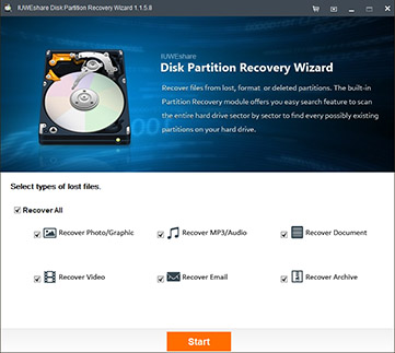 IUWEshare Disk Partition Recovery Wizard center