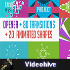 Videohive 80 Transitions with Opener + 20 shapes logo