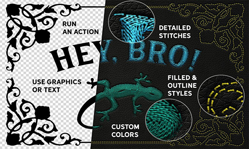 Machine Embroidery Photoshop Actions center
