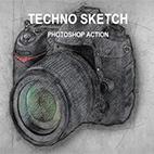 Techno Sketch Photoshop Action logo