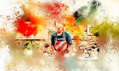 Watercolor Rangoli Dust Photoshop Action center