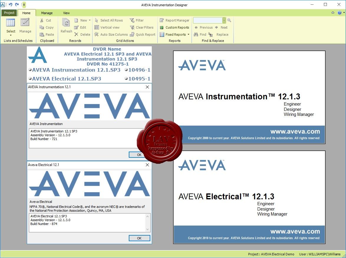 AVEVA Instrumentation & Electrical center.
