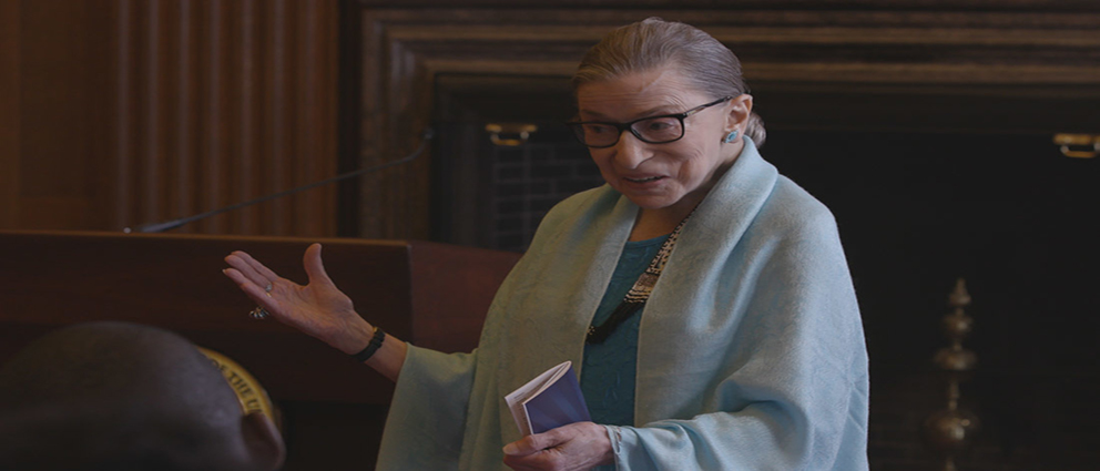 U.S. Supreme Court Justice Ruth Bader Ginsburg talks to high school students in RBG, directed by Betsy West and Julie Cohen. Courtesy of CNN Films.