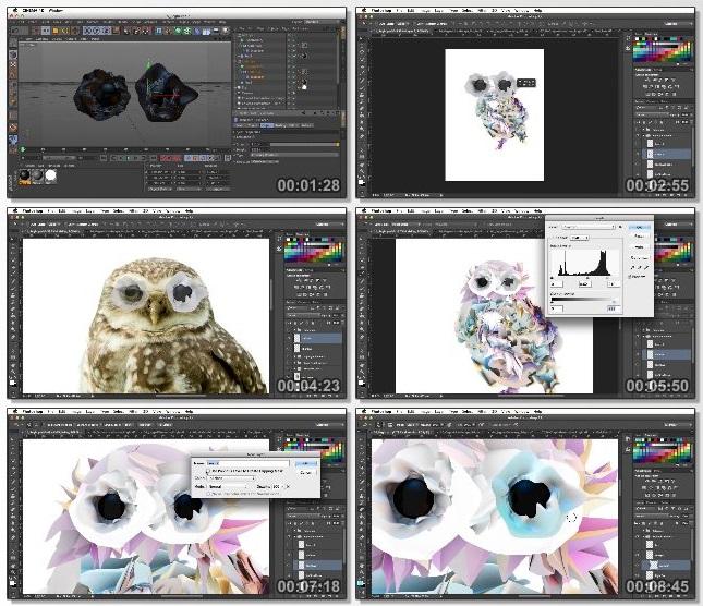 دانلود فیلم آموزشی Creating Illustrations Using 3D Objects in Photoshop and CINEMA 4D