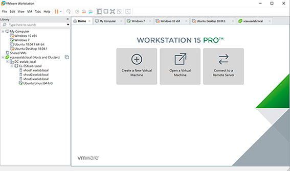 محیط نرم افزار VMware Workstation